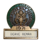 Deane Bemans 1971 US Open at Shinnecock Contestant Badge - Lee Trevino Win
