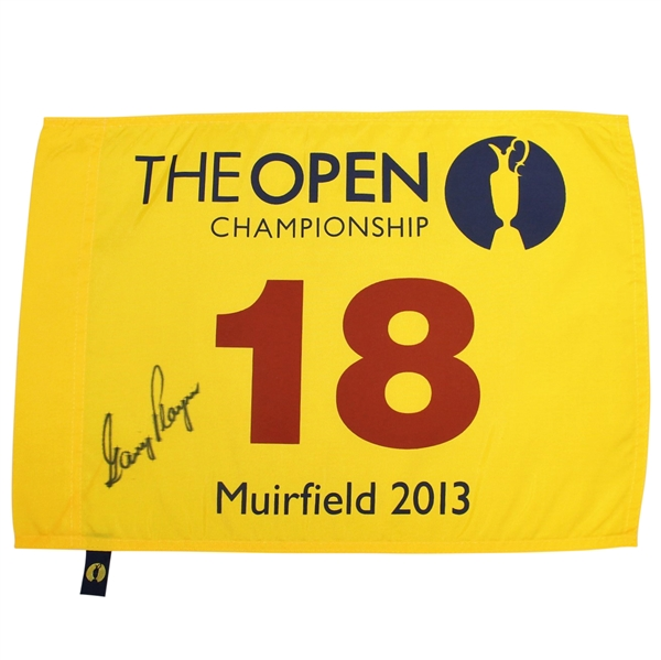 Gary Player Signed 2013 Open Championship at Muirfield Flag JSA ALOA