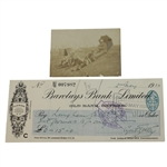 Cyril Tolley Signed 1922 Barclays Bank Check with Small 1899 Photo JSA ALOA
