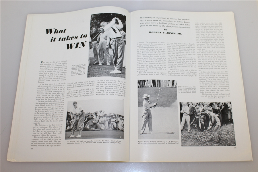 1936 US Open Championship at Baltusrol Program - Tony Manero Winner