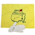 Mike Weir Signed 2003 Masters Embroidered Flag & Signed Golf Glove JSA ALOA