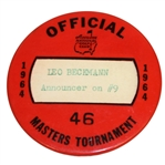 1964 Masters Tournament Officials Badge #46 - Leo Beckmann Announcer on #9