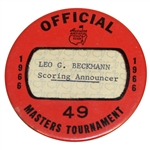 1966 Masters Tournament Officials Badge #49 - Leo Beckmann Scoring Announcer