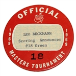 1969 Masters Tournament Officials Badge #18 - Leo Beckmann Scoring Announcer #18 Green