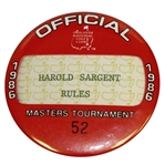 1986 Masters Tournament Officials Badge #52 - Harold Sargent - Rules