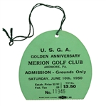 1950 US Open at Merion Ticket #11946 - Day of Famous Hogan 1-Iron Shot - 6/10/1950