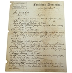 1867 Fruitland Nurseries (Augusta National Grounds) Letter Signed by P.J. Berckmans JSA ALOA