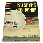 Ben Hogan Signed 1951 US Open Championship at Oakland Hills CC Program JSA ALOA