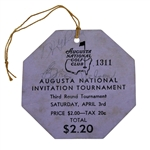 1937 Augusta National Inv. Tournament Saturday Ticket #1311 Signed by Winner Byron Nelson FULL JSA #Z71382