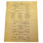 1937 Augusta National Invitational Tournament Saturday Pairing Sheet - April 3, 1937
