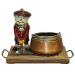 Vintage Dunlop Man with Ashtray on Wooden Plinth/Tray - Half-Lid Cover - Roth Collection