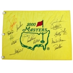 Palmer, Nicklaus, & Woods Signed 2000 Masters Embroidered Flag with Others JSA ALOA