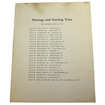 1941 Masters Saturday Pairing Sheet - April 5th - Craig Wood Winner