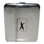 Circa 1920 Elgin American Sterling Silver Cigarette Case with Golfer