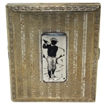 Circa 1920 Evans Nickel Silver Plated Cigarette Case with Golfer