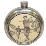 Sheffield Hand Crafted Classic Pewter Circular Flask with Golfer Post-Swing