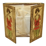Circa 1930 Lady Golfer Themed Wood Handkerchief Box with Original Handkerchiefs