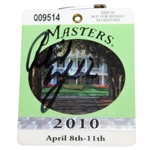 Phil Mickelson Signed 2010 Masters Series Badge #Q09514 JSA ALOA