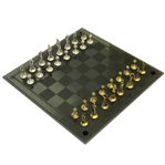 Deluxe Golf Themed Pewter Silver & Gold Colored Chess Pieces on Glass Board