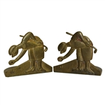 Pair of Golfers Teeing Up Golf Ball Themed Brass Bookends - Art Brass Co. New York