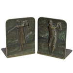 1920s Male & Female Golfers Post Swing Themed Cast Iron Bookends - Bradley & Hubbard