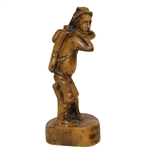 Unmarked Wooden Golfer Sitting on Bench Statue
