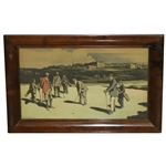 Tom Morris Putting at St. Andrews 1890 Colored Chromolithograph by Nevison Arthur Loraine - Framed