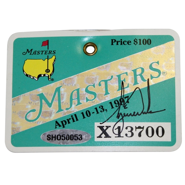 Tiger Woods Signed 1997 Masters Tournament Badge #X13700 UDA SHO50053
