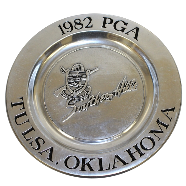 Ray Floyd's Personal Pewter Plate from Southern Hills - Site of His 1982 PGA Win