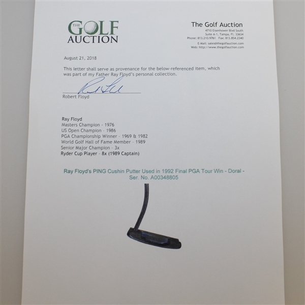 Ray Floyd's PING Cushin Putter Attributed To 1992 Final PGA Tour Win - Doral - Ser. No. A00348805
