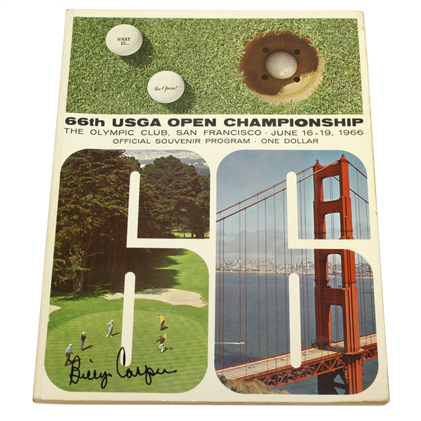 Billy Casper Signed 1966 US Open Championship at The Olympic Club Program JSA ALOA