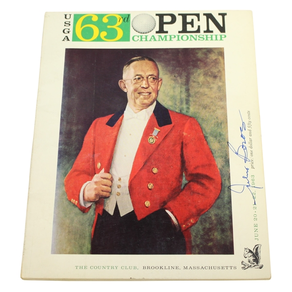 Julius Boros Signed 1963 US Open Championship at The Country Club Program JSA ALOA
