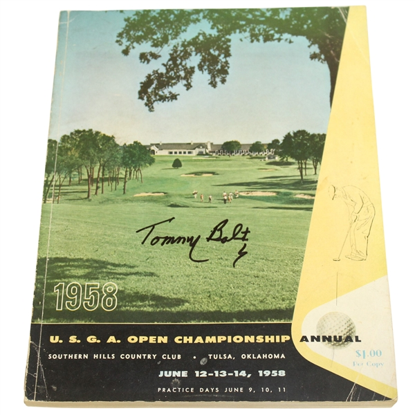 Tommy Bolt Signed 1958 US Open Championship at Southern Hills CC Program JSA ALOA