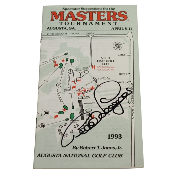 Bernhard Langer Signed 1993 Masters Tournament Spectator Guide JSA ALOA