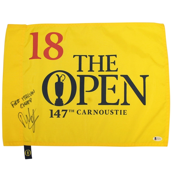 Francesco Molinari Signed 2018 OPEN at Carnoustie Flag with 'First Italian Champ' Beckett #E62876