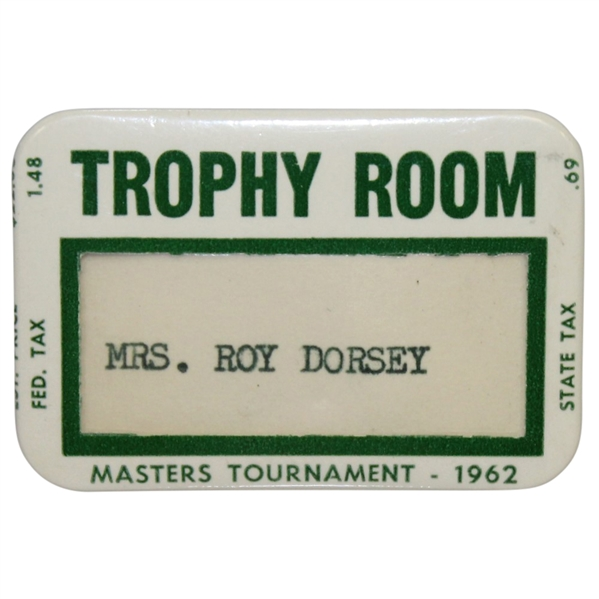 1962 Masters Tournament Trophy Room Badge - Arnold Palmer Winner