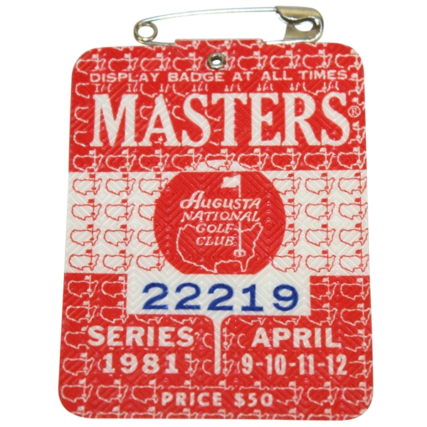 1981 Masters Tournament Badge #22219 - Tom Watson Winner