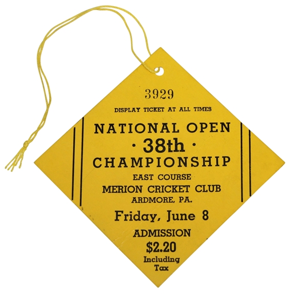 1934 US Open Championship at Merion Friday Ticket #3929 - Finest Condition Known