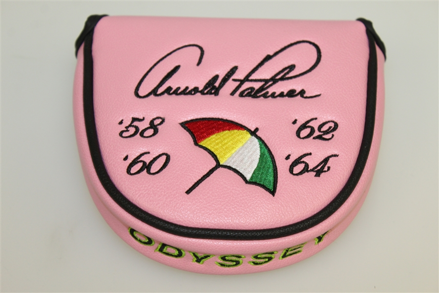 Arnold Palmer Bay Hill Pink Mallet Putter Cover with Years of Masters Victories - Odyssey