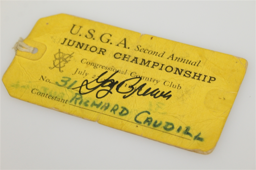 Gay Brewer Signed 1949 USGA 2nd Annual Junior Championship Contestant Ticket JSA ALOA