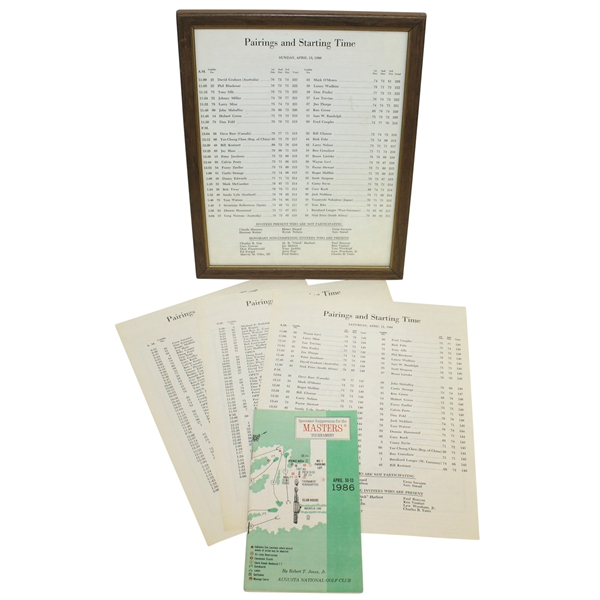 Complete Set of 1986 Thursday-Sunday Pairing Sheets with Spectator Guide
