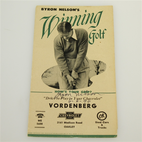 Byron Nelson Signed 'Winning Golf' Pamphlet with other 11 Pamphlets - Complete JSA ALOA