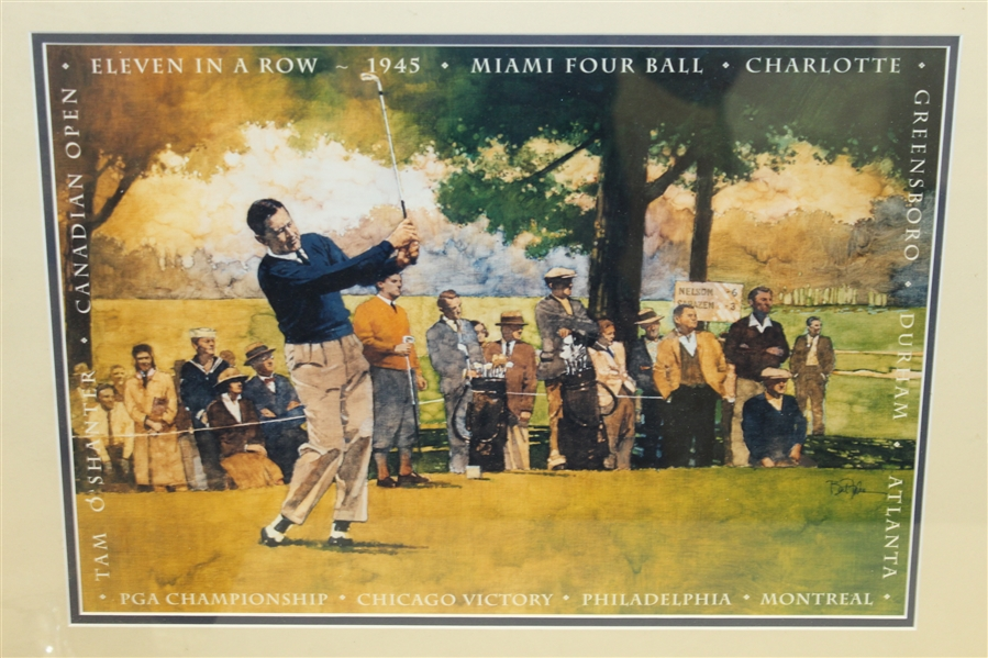 Byron Nelson Signed Cut in 50th Anniversary 11 in a Row Print Display - Framed JSA ALOA