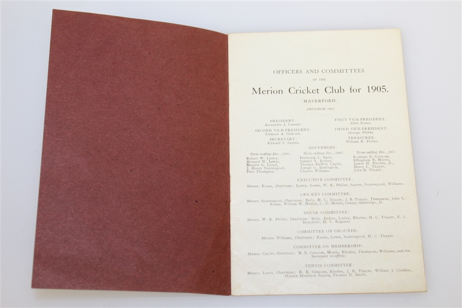 1905 Merion Cricket Club List of Members, Officers, & Committees Booklet