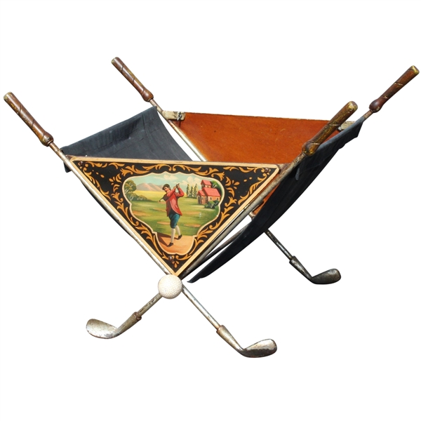 Classic Golf Themed Painted Golf Ball/Magazine Basket/Holder - Crossed Clubs