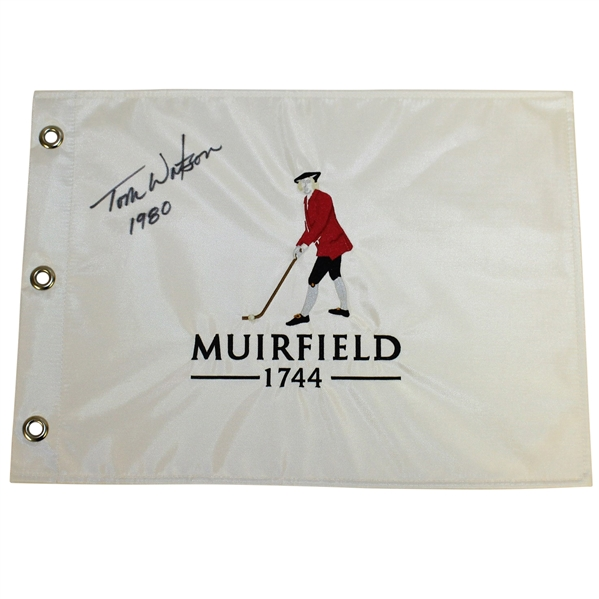Tom Watson Signed Muirfield '1744' Embroidered Flag with '1980' Notation JSA ALOA