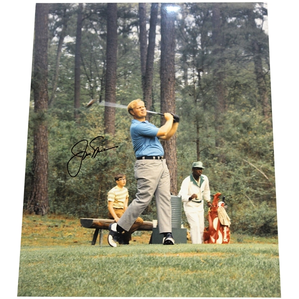 Jack Nicklaus Signed 11x14 Post-Swing at The Masters Photo JSA ALOA