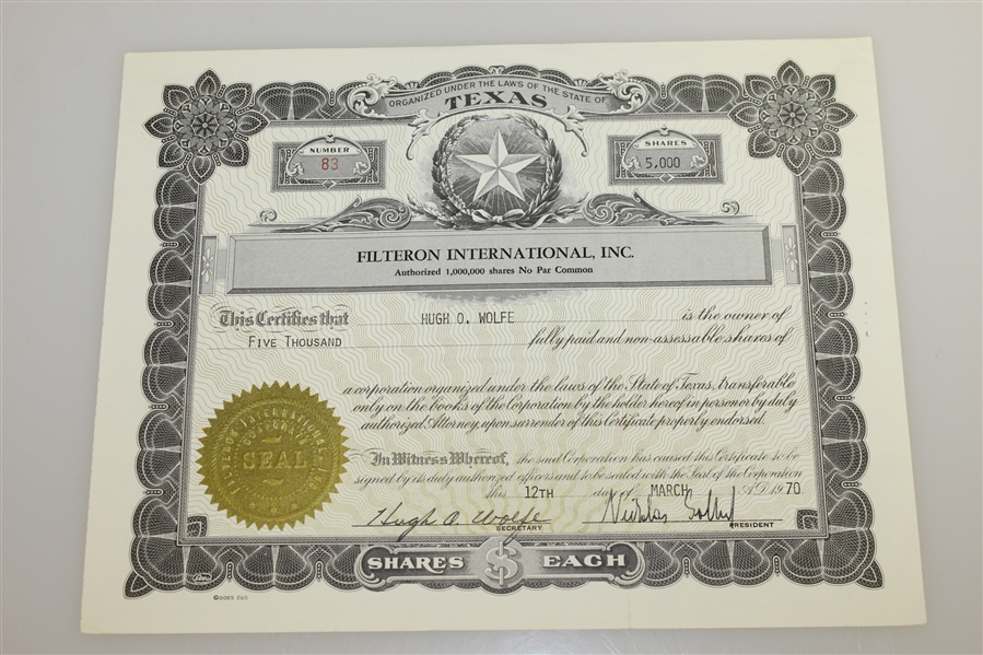 Ben Hogan's 1970 Filteron International, INC. Stock Certificate