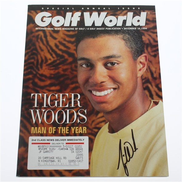 Tiger Woods Signed December 16, 1994 'Man of the Year' Golf World Magazine JSA ALOA
