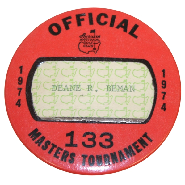 Deane Beman's 1974 Masters Tournament Official Badge #133 - Gary Player Winner